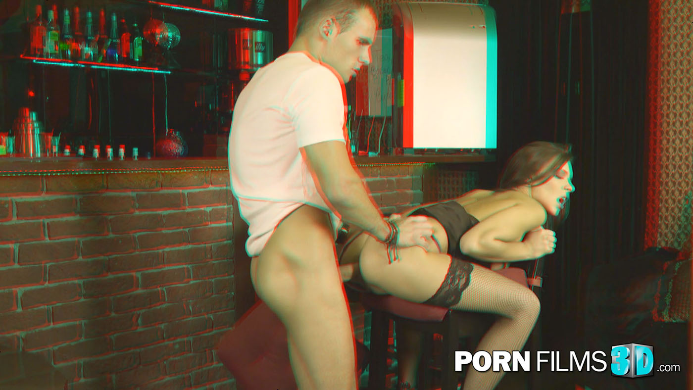 slut fucked on a barstool for red cyan 3d glasses