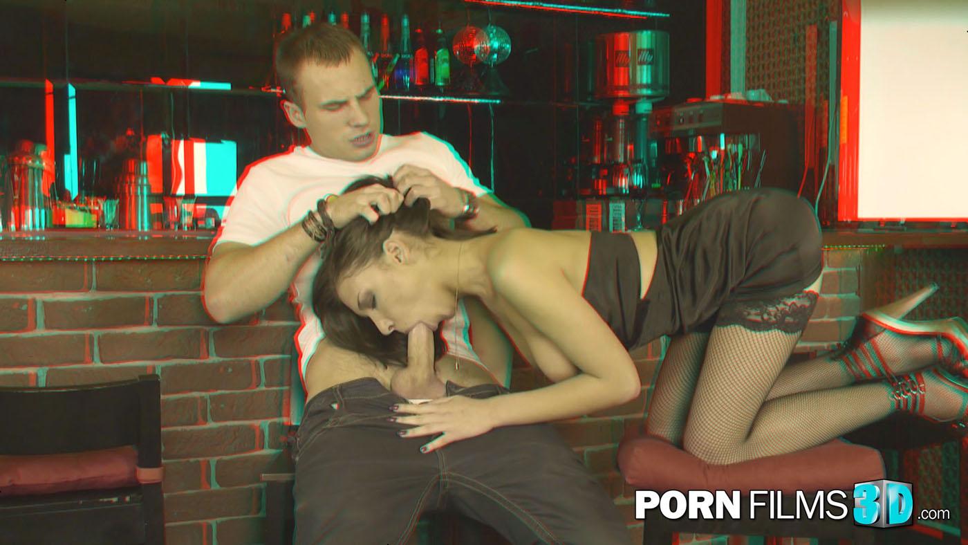 hardcore deepthroat throatfucking slut in sexy lingerie in front of the 3d camera